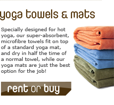 Specially designed for hot yoga, our superabsorbent, microfibre towels fit on top of a standard yoga mat, and dry in half the time of a standard towel, while our branded mats are just the best option for the job!